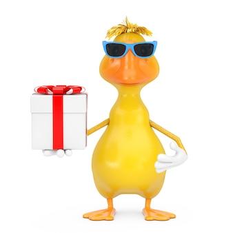Simpatico cartone animato giallo personaggio personaggio mascotte anatra con confezione regalo e nastro rosso su sfondo bianco. rendering 3d
