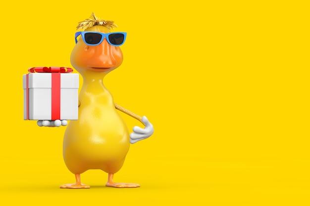 Simpatico cartone animato giallo personaggio personaggio mascotte anatra con confezione regalo e nastro rosso su sfondo giallo. rendering 3d