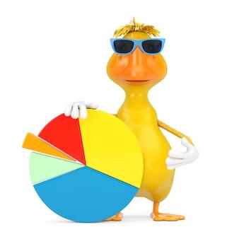 Simpatico cartone animato giallo anatra persona personaggio mascotte con grafico informazioni grafico a torta aziendale su sfondo bianco. rendering 3d