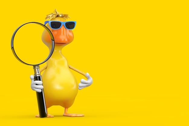 Simpatico cartone animato giallo personaggio personaggio mascotte anatra con lente di ingrandimento su sfondo giallo. rendering 3d