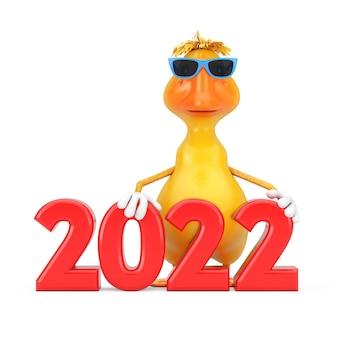 Mascotte gialla sveglia del carattere della persona dell'anatra del fumetto con il segno rosso del nuovo anno 2022 su un fondo bianco. rendering 3d