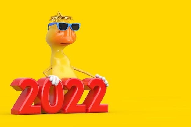 Simpatico cartone animato giallo personaggio personaggio mascotte anatra con segno rosso del nuovo anno 2022 su sfondo giallo. rendering 3d
