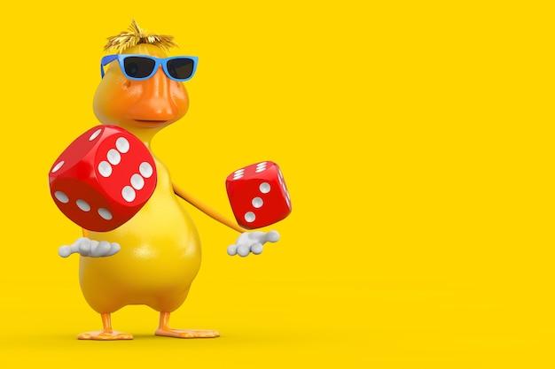Simpatico cartone animato giallo personaggio personaggio mascotte anatra con cubetti di dadi gioco rossi in volo su sfondo giallo. rendering 3d