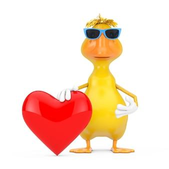 Mascotte gialla sveglia del carattere della persona dell'anatra del fumetto con il cuore rosso su un fondo bianco. rendering 3d