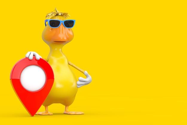 Simpatico cartone animato giallo anatra persona personaggio mascotte con puntatore mappa rosso perno di destinazione su sfondo giallo. rendering 3d