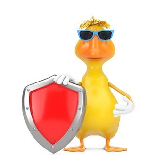 Simpatico cartone animato giallo personaggio personaggio mascotte anatra con scudo di protezione in metallo rosso su sfondo bianco. rendering 3d