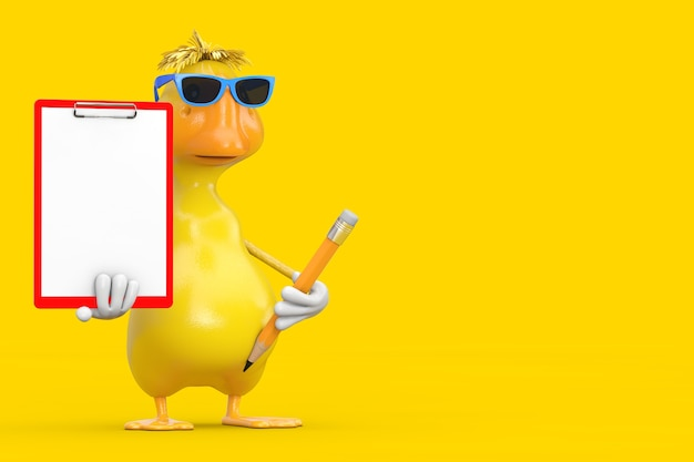 Simpatico cartone animato giallo anatra persona mascotte di caratteri con appunti in plastica rossa, carta e matita su sfondo giallo. rendering 3d