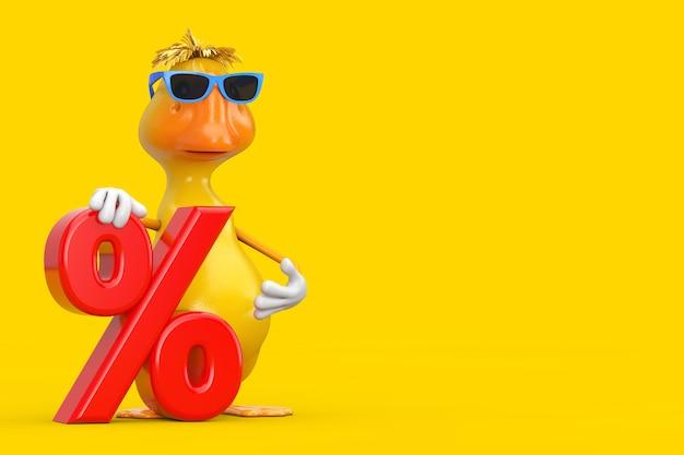 Simpatico cartone animato giallo anatra persona mascotte di caratteri con rosso percentuale di vendita al dettaglio o segno di sconto su uno sfondo giallo. rendering 3d