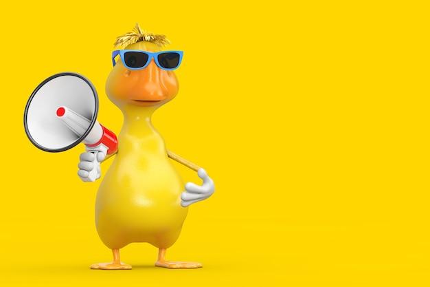 Simpatico cartone animato giallo personaggio personaggio mascotte anatra con megafono retrò rosso su sfondo giallo. rendering 3d