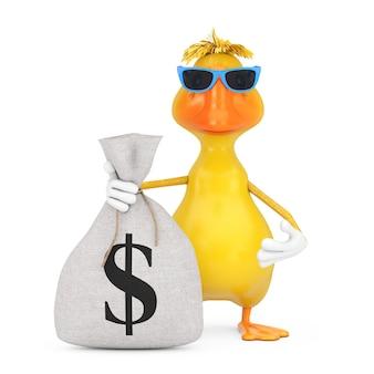 Simpatico cartone animato giallo anatra persona mascotte di carattere con legato rustico lino tela sacco di soldi o sacco di soldi con il simbolo del dollaro su uno sfondo bianco. rendering 3d