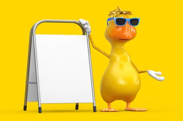 Simpatico cartone animato giallo personaggio personaggio mascotte anatra con supporto pubblicitario vuoto bianco su sfondo giallo. rendering 3d