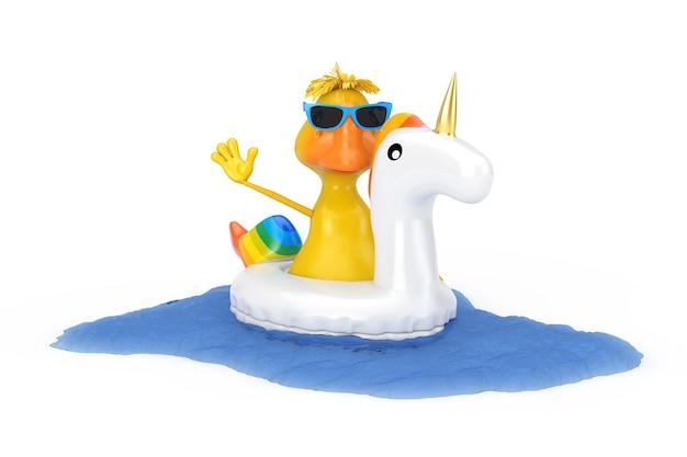 Simpatico cartone animato giallo anatra persona carattere nuoto con piscina estiva gonfiabile in gomma giocattolo unicorno su sfondo bianco. rendering 3d