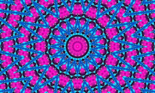 Fiore ciano su sfondo stella rosa. carta da parati dettagliata con molti cerchi, quadrati e fiori decorativi in file e colonne in rosa e un fiore esotico incandescente, stella al centro in colore ciano