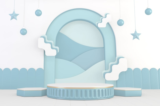 Design del piedistallo ciano per l'esposizione del prodotto