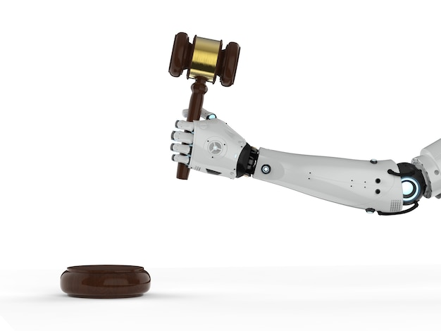 Concetto di legge informatica con mano robotica di rendering 3d che tiene il giudice del martelletto su sfondo bianco