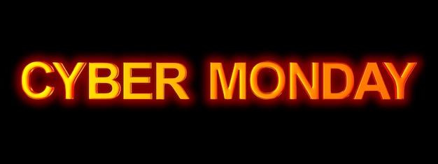 Cyber lunedì su spazio nero. illustrazione 3d