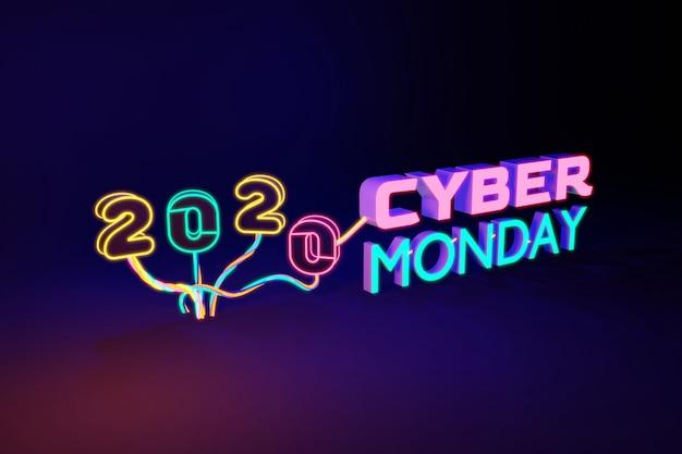 Numero al neon colorato di cyber monday