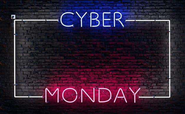 Insegna al neon cyber monday con cornice