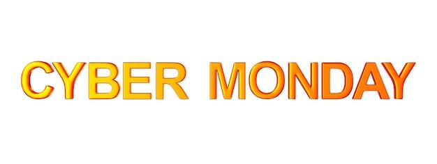 Cyber lunedì su uno spazio bianco. illustrazione 3d isolata