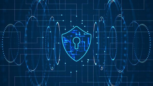 Concetto di sicurezza informatica: scudo con icona keyhole su sfondo dati digitali.