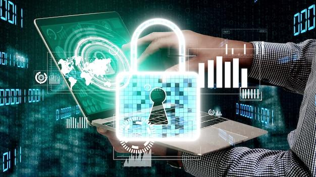 Tecnologia di crittografia della sicurezza informatica per proteggere la privacy dei dati concettuale
