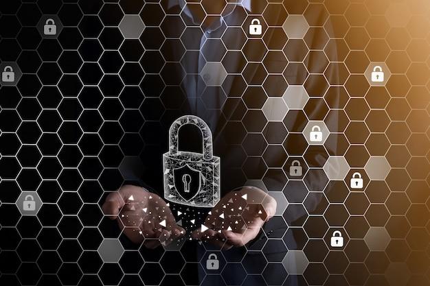 Rete di sicurezza informatica. icona del lucchetto e rete di tecnologia internet