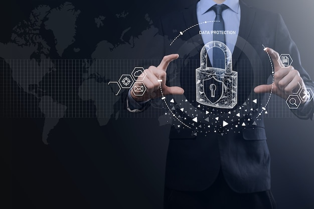 Rete di sicurezza informatica. icona del lucchetto che protegge i dati concetto di privacy di protezione dei dati. rgpd. unione europea