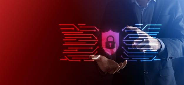 Rete di sicurezza informatica. simbolo del lucchetto e rete di tecnologia internet. uomo d'affari che protegge le informazioni personali dei dati su tablet e interfaccia virtuale. concetto di privacy di protezione dei dati. gdpr. unione europea.