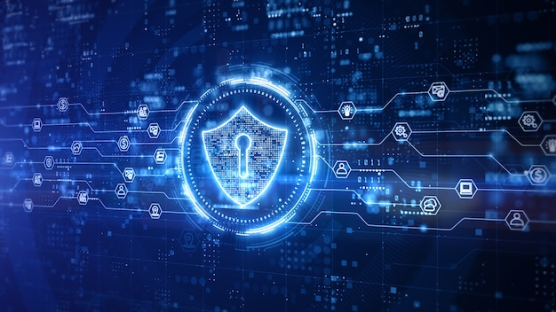 Progettazione digitale dello scudo di sicurezza informatica con sfondo blu