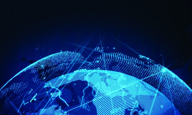 Fondo della rete del mondo cibernetico. tecnologia aziendale globale