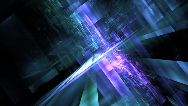Costruzione cyberpunk del futuro, fantascienza, grattacieli al neon astratti città al neon, metropoli sky-fi del futuro. rendering 3d
