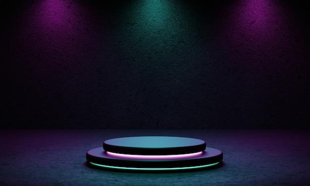 Studio della piattaforma del podio del prodotto cyberpunk con riflettori blu e viola e sfondo con texture in stile grunge.