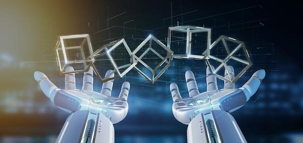 Mano del cyborg che tiene una rappresentazione del cubo 3d della blockchain