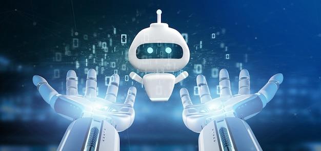 Mano del cyborg che tiene chatbot con la rappresentazione di codice binario 3d
