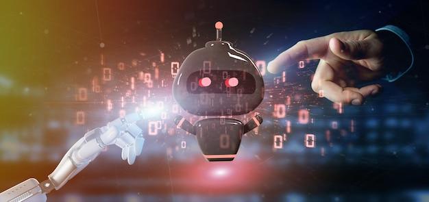 Chatbot del virus della tenuta della mano del cyborg con la rappresentazione di codice binario 3d