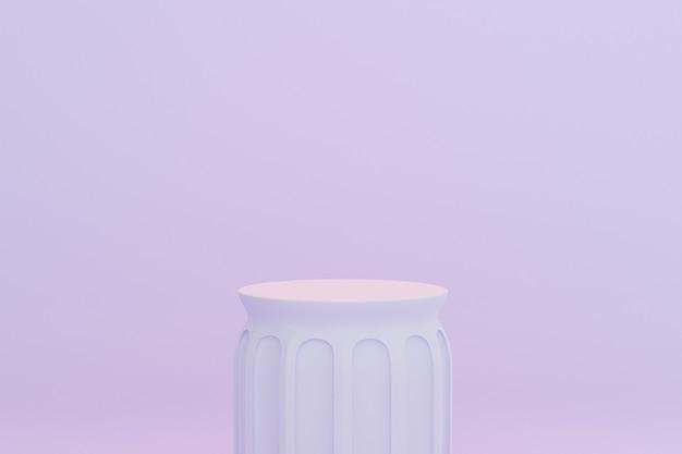 Podio o piedistalli del pilastro del cilindro per prodotti o pubblicità su sfondo blu pastello, rendering minimo di illustrazione 3d