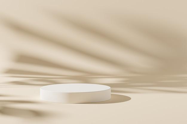 Podio cilindro o piedistallo per prodotti o pubblicità su sfondo beige con ombre di foglie, rendering minimo di illustrazione 3d