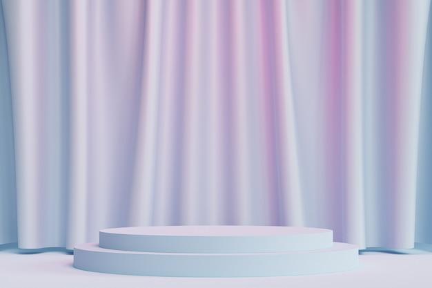 Podio del cilindro o piedistallo per prodotti o pubblicità su sfondo blu e rosa neutro con tende, rendering minimo di illustrazione 3d