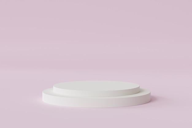 Podio del cilindro o piedistallo per prodotti o pubblicità su sfondo rosa pastello, rendering minimo di illustrazione 3d