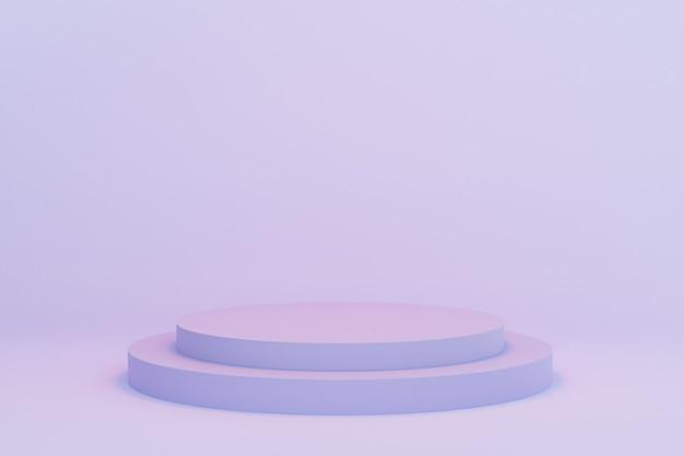 Podio del cilindro o piedistalli per prodotti o pubblicità su sfondo blu pastello, rendering minimo di illustrazione 3d