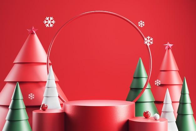 Podio cilindrico con decoro natalizio