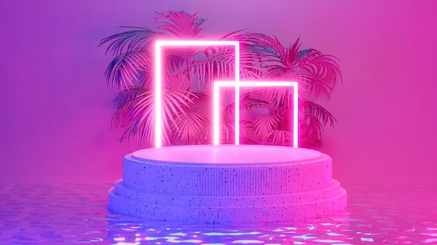 Podio cilindrico con illuminazione al neon per l'esposizione del prodotto