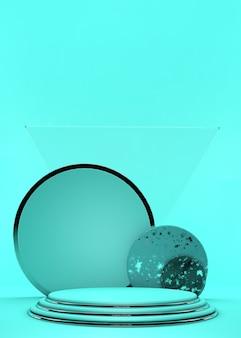 Podi del cilindro su sfondo verde. scena astratta del piedistallo con geometrica. scena per mostrare la presentazione dei prodotti cosmetici. mock up design spazio vuoto. vetrina, vetrina, vetrina, rendering 3d