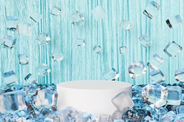 Cilindro per l'esposizione del prodotto con cubetti di ghiaccio che galleggiano intorno e fondo di legno blu
