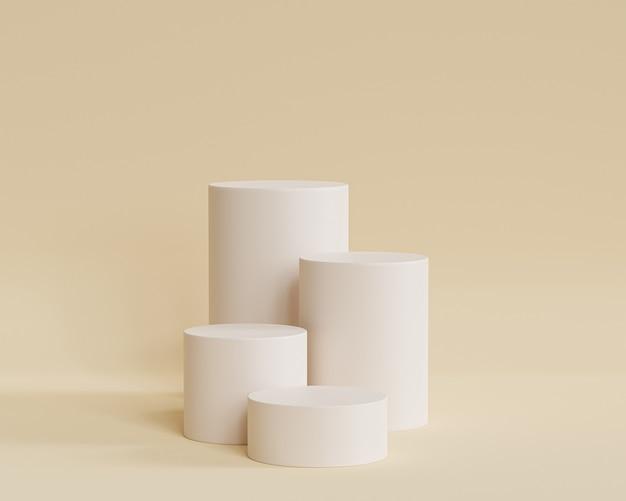 Podi o piedistalli a forma di cilindro per prodotti o pubblicità su sfondo beige, rendering minimo di illustrazione 3d