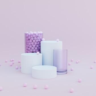 Podi o piedistalli a forma di cilindro per prodotti o pubblicità su sfondo rosa pastello, rendering minimo di illustrazione 3d