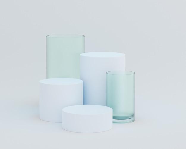 Podi o piedistalli a forma di cilindro per prodotti o pubblicità su sfondo bianco, rendering minimo di illustrazione 3d