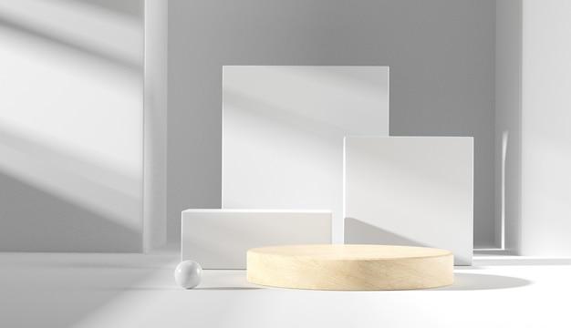 Fase del podio di legno del cilindro nella priorità bassa bianca.