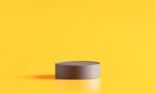 Fase del podio di legno del cilindro nella priorità bassa gialla