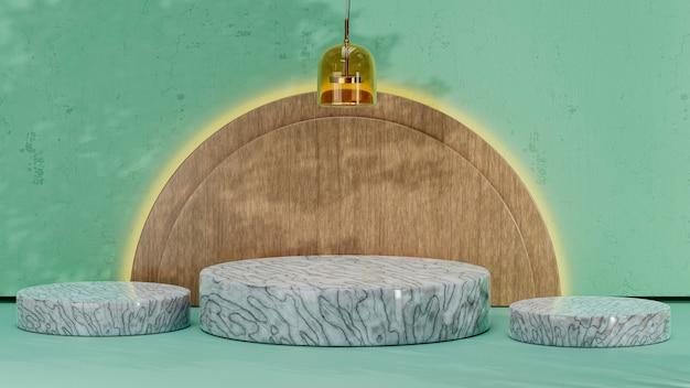 Podi cilindrici in marmo con plafoniera e semicerchi in legno per i prodotti